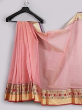 Light Pink Zari Border Net Saree - WEAVING ROOTS