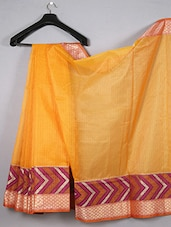 Woven Zari Border Super Net Saree - WEAVING ROOTS