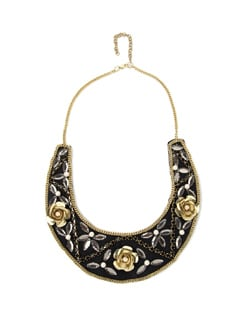 Black & Gold Bib Necklace - Accessory Bug
