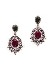 Oval Stone & Crystals Embellished Earrings - Jewelz