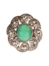 Antique Golden & Green Bead Ring - Lashkari