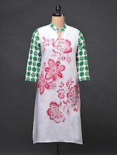 Cotton Printed Kurti With Dotted Sleeves - Free Living