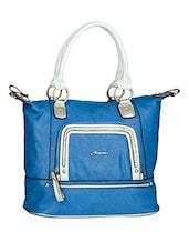 Zipper Detail Contrast Handle Handbag - Alonzo