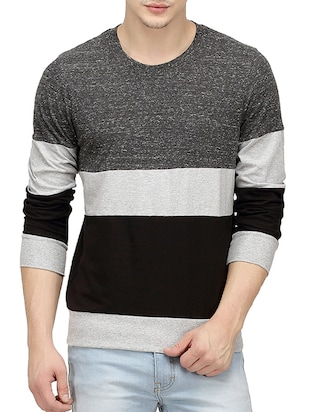 charcoal color, cotton tee- shirt -  online shopping for T-Shirts