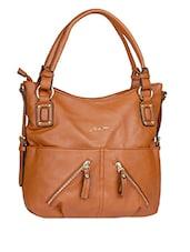 Spacious Zipper Detail Brown Handbag - Alonzo