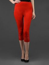 Red Plain Solid Polyester Short Leggings - Dashy Club