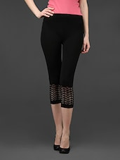 Black Plain Solid Polyester Short Leggings - Dashy Club