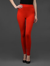 Red Plain Solid Polyester Long Leggings - By