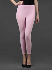 Pink Plain Solid Polyester Long Leggings - Dashy Club