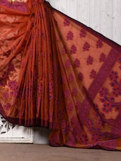 Orange Brasso Cotton Silk Saree - Bunkar
