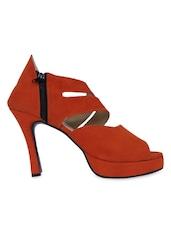 Open Toe Zip Closure  Orange Stilettoes - John Sparrow