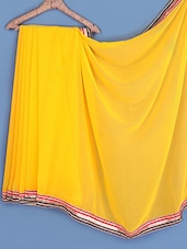 Yellow Gota Bordered Chiffon Saree - INDI WARDROBE
