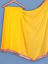 Yellow Gota Bordered Chiffon Saree - INDI WARDROBE