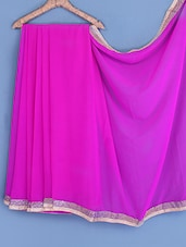 Pink Gota Bordered Chiffon Saree - INDI WARDROBE