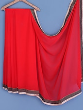 Red Bordered Chiffon Saree - INDI WARDROBE