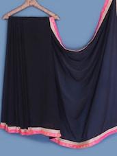 Black Bordered Chiffon Saree - INDI WARDROBE