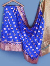 Blue Zari Woven Silk Saree - INDI WARDROBE