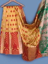 Yellow With Contrast Pallu Silk Saree - INDI WARDROBE