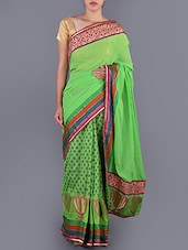 Printed Zari Work  Chanderi Saree - Saree Street