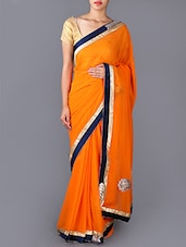 Orange  Embroidered Patch Georgette Saree - Saree Street
