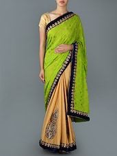 Half & Half Zari Embroidered Saree - Saree Street