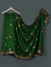 Dark Green Floral Embroidered Bhagalpuri Silk Saree - Awesome