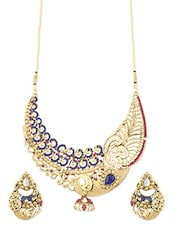 Blue And Pink Peacock Necklace Set - ZAVERI PEARLS