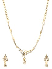 Gold And White Necklace Set - ZAVERI PEARLS