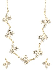 Gold And White Floral Necklace Set - ZAVERI PEARLS