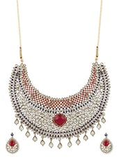 Blue And Pink Necklace Set - ZAVERI PEARLS