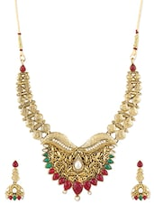 Gold Temple Jewellery Inspired Necklace Set - ZAVERI PEARLS