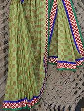 Chiffon Printed Body Bordered Saree - Bandhni
