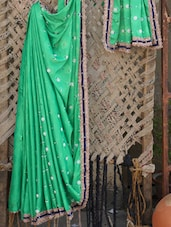 Green Embroidered Gota Border Saree - Bandhni