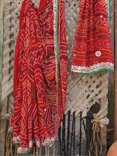 Embroidered Border Bandhej Chiffon Saree - Bandhni