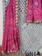 Pink Embroidered Gota Border Saree - Rasiya