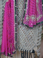 Pink Embroidered Gota Border Saree - Aari Taari
