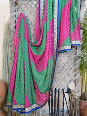 Bordered Synthetic Leheriya Saree - Bandhni