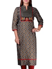Only Black Cotton Kurta With Stunning Gold Discharge Print - By