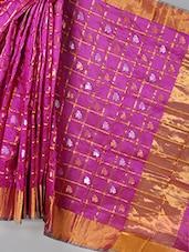 Zari Border Check Floral Saree - BANARASI STYLE