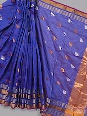 Blue Leaf Brasso Work Saree - BANARASI STYLE