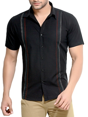 black striped cotton casual shirt -  online shopping for casual shirts