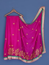 Embroidered Magenta Silk Chiffon Saree - Suchi Fashion
