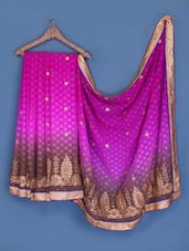 Magenta And Brown Jacquard Chiffon Saree - Suchi Fashion