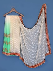 Mint Green And Beige Chiffon Saree - Suchi Fashion