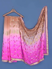 Pink And Brown Shaded Georgette Saree - Suchi Fashion