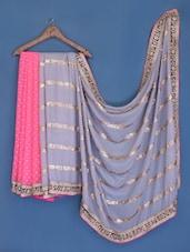 Pink And Grey Chiffon Saree - Suchi Fashion