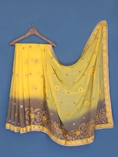 Yellow And Grey Chiffon Saree - Suchi Fashion