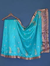 Turquoise Paisley Patterned Cotton Silk Saree - Suchi Fashion