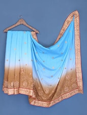 Ombre Turquoise Satin Chiffon Embroidered Saree - Suchi Fashion