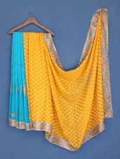 Yellow And Sky Blue Embroidered Chiffon Saree - Suchi Fashion